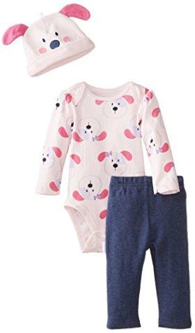 Vitamins Baby Baby-Girls Newborn Puppy Girl 3 Piece Creeper Pant Set, Pink, 3 Months