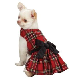East Side Collection Holiday Tartan Pet Dress, Small, 12-Inch, Red