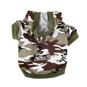 Army Green Camouflage Hoodie Pet Dog Clothes Camo Sweatshirt-M Size