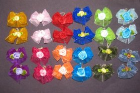 24 Dog Hair Bows – Double Layered with Center Rose Decorations – 12 Pairs of Different Colors- Handmade