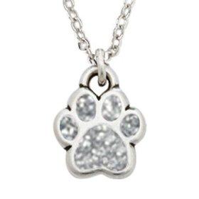 Rockin' Doggie Pewter Paw Necklace, Silver