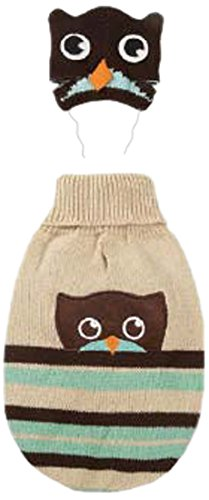 Zack & Zoey Piggy Back Pals with Dog Sweater and Hat Set, Large, Owl