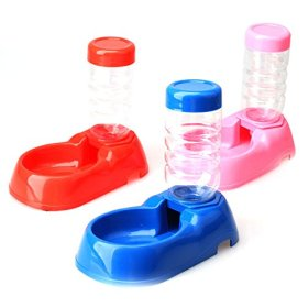 Vktech® Pet Dog Puppy Cat Kitten Automatic Water Dispenser Food Dish Bowl Feeder Bottle