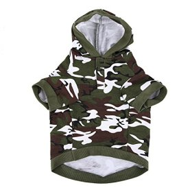 Army Green Camouflage Hoodie Pet Dog Clothes Camo Sweatshirt-L Size