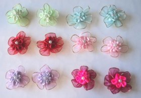 Pack of 12 Dog Hair Bows (1.5 inch) with French clip or Rubber Band – A total of 6 pairs with different colors