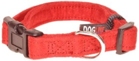 Dogline 13 to 21-Inch Comfort Microfiber Soft Padded Pet Puppy Dog Collar with Nylon Reinforcement, Medium, 3/4-Inch Wide, Red