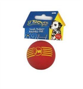 JW Pet Company iSqueak Ball Rubber Dog Toy, Small, Colors Vary