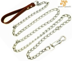 Premium 6′ Chain Heavy Duty Leash BROWN Leather-like Strong Handle Lead for Large & Medium Size Dogs and Pets by GoodPooch