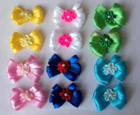 Pack of 12 Dog Hair Pixie Bows – A total of 6 pairs for St Patricks, Easter, Spring, Summer, 4th of July