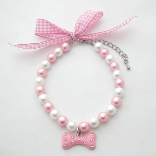 PetFavorites(TM) Couture Designer Fancy Diamond Pet Cat Dog Necklace Jewelry with Bling Pearls Rhinestones Bone Charm for Pets Cats Small Dogs Female Puppy Chihuahua Yorkie Girl Costume Outfits, Pink and White, Adjustable and Handmade (Pink, Neck Size: 8″)