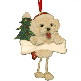 """Maltese Puppy Ornament with Unique """"Dangling Legs"""" Hand Painted and Easily Personalized Christmas Ornament"""