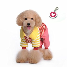 Namsan Sweet Striped Pet Dog Warm Hooded clothing Puppy Coat Winter Costume Outwear Apparel with A Pink Heart Dog Tag