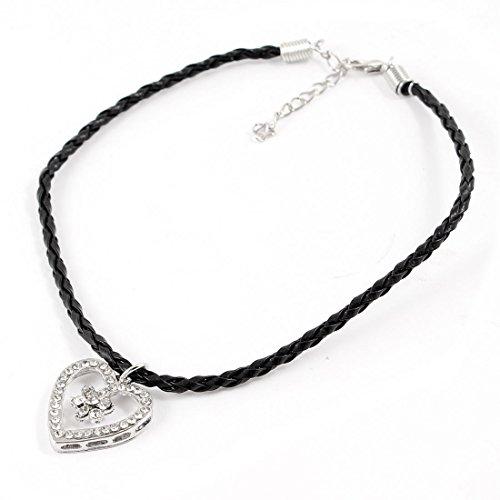 Pets Dog Braided Rope Heart Shape Pendant Necklace Black