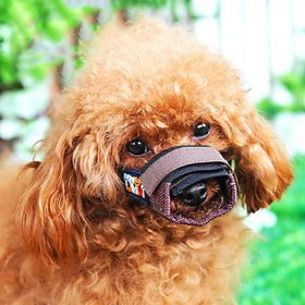 Adjustable Puppy Pattern Sponge-padded Bite Bit Stop Muzzle for Pets Dogs Brown Brown