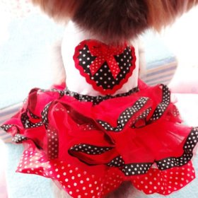 PanDaDa Pet Dog Tutu Princess Dress Clothes Love Heart Print Bowknot Party Skirt S