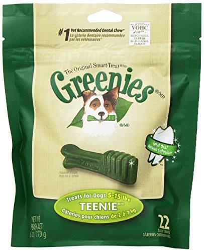 GREENIES Original Canine Dental Chews – TEENIE Treats Size – Mini TREAT-PAK Package (6 oz.) – 22 Count