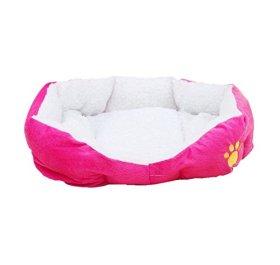 Pet Dog Puppy Cat Kitten Animal Soft Fleece Warm Bed House Kennel Plush Cozy Nest Mat Comfy Pad Medium Washable (Rose)