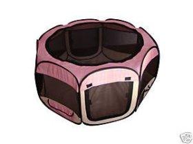 Pet Travel, Indoor or Outdoor Dog Cat Puppies Kitten Play Yard *Pink Plaid* *Medium*