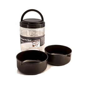 Pet Travel Bowl Portable Airtight Storage Container with Handle for Dog / Puppy (Black)