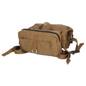 SinoWare Canvas Dog Backpack Rucksack Saddlebags for Medium & Large Dog Coffee