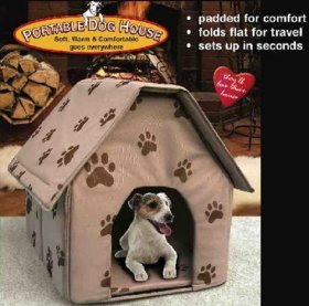 PORTABLE DOG HOUSE – Soft, warm and comfortable and goes everywhere(Assorted colors-Tan/Blue/Red)