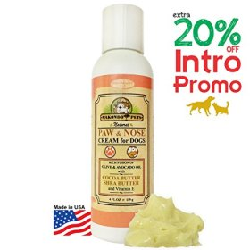 Paw Protector for Dogs. Paw and Nose Cream for Dogs. (Cocoa and Shea Butter, Olive and Avocado Oil, Vitamin E) 4fl Oz.