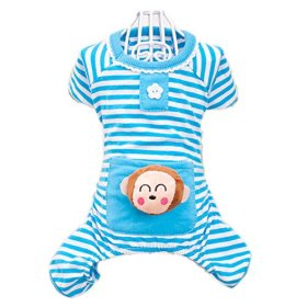 Urparcel Small Pet Dog Stripes Pajamas Coat Cat Puppy Clothes Apparel Clothing Blue Small