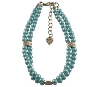 Dogloveit Pet Puppy Cat Dog Accessories Double Rows Pearl Necklace Lovely Jewelry for Pet Dog Cat (Blue, S)