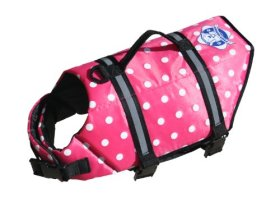Paws Aboard Extra Small Designer Doggy Life Jacket, Pink Polka Dot