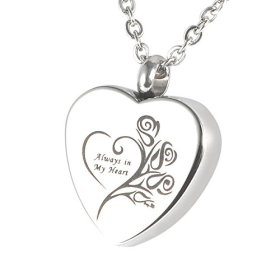 """HooAMI Cremation Jewelry """"Always in my heart"""" Flower Memorial Urn Necklace Ashes Keepsake Pendant"""