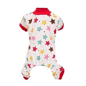 Silvercell Puppy Star/Rabbit Pattern Pajamas Jumpsuit Shirt Red M