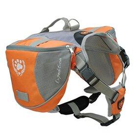 Columbustore Outdoor Adjustable Dog Saddle Bag Large Capacity Dog Backpack with Reflective Stripe (Orange, Large)