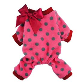 Fitwarm Cute Ribbon Polka Dots Fleece Pet Dog Coats Pajamas Soft Pjs Winter Clothes, Medium