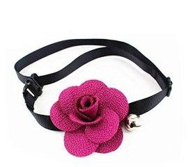 Esenfa Purple Flower Pendant Bell Pet Necklace Ribbon Chain Pet Jewelry