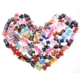 50 x Dog Pets Hair Bows Grooming hair gift Pet Charms Mix Designs Colorful Accessories