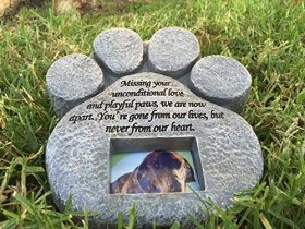 Paw Print Pet Memorial Stone — Features a Photo Frame and Sympathy Poem. Made of Weatherproof Resin. Indoor/Outdoor. Dog or Cat. For Garden, Backyard, or House
