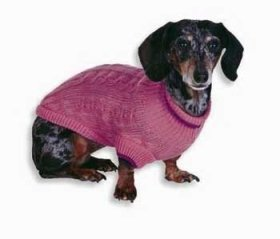 Fashion Pet Classic Cable Dog Sweater, Pink, Medium
