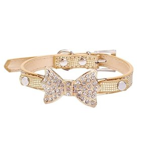 Cute Pet Bling Rhinestone Pet Cat Dog Bow Tie Collar Necklace Jewelry for Small or Medium Dogs Cats Pets Female Puppies Chihuahua Yorkie Girl Costume Outfits, Light and Adjustble Buckle Golden S
