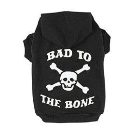 ROPALIA Puppy Pet Dog Cat Sweatshirt Bone Skull Printed Hoodie Sweater Black S