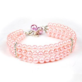 Petmall Charm Adjustable Three Rows Pearls Diamond Design Pet Cat Dog Puppy Necklace Jewelry With Copper Bell M