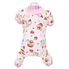 Urparcel Puppy Pet Dog Cotton Pajamas Cartoon Printed Clothes Jumpsuit Shirt Pink Medium