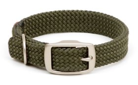 Mendota Products Double Braid Dog Collar, Olive, 9/16 x 12-Inch