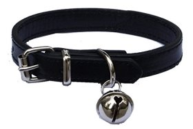 Black Leather Pet collars for Cats,Baby Puppy Dog,Adjustable 8″-10.5″ Kitten Collar with Bell