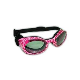 Doggles ILS Sunglass, Medium, Pink Zebra Frame/Smoke Lens