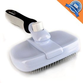 Groomeasy Deshedding Self Cleaning Slicker Brush for Dogs and Cats. All-in-One Grooming Tool for Mats, Tangles, Dirt and Dead Hair With Rubber Grip Handle and Retractable Pins. Large or Small Sizes.