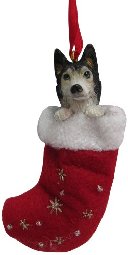 """Siberian Husky Christmas Stocking Ornament with """"Santa's Little Pals"""" Hand Painted and Stitched Detail"""