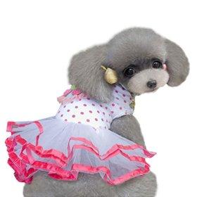 HP95(TM) Fashion Puppy Dog Princess Dress Dog Cherry Lace Skirt Pet Dog Tutu Dress (M)