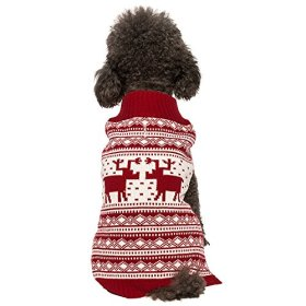 Blueberry Pet 12-Inch Back Length Vintage Reindeer Holiday Festive Dog Sweater