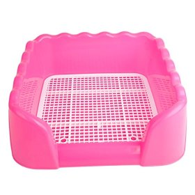 Z ZTDM Dog Pet S Size Indoor Home Pet Potty Training Toilet With Fence for Pet Cat Puppy Dog (Pink-wave)