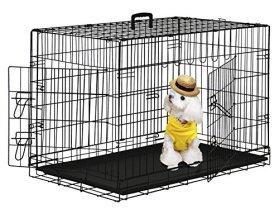 BestPet 42″ Wire Metal Folding Pet Dog Cage Crate Kennel W/2-doors w/ ABS Plastic Removable Tray